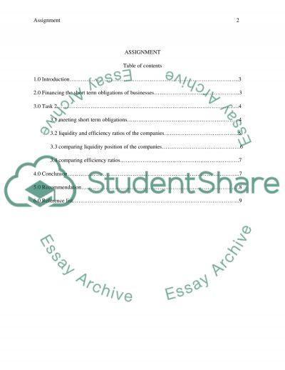 Short-term obligations essay example