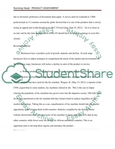 Product Assessment essay example