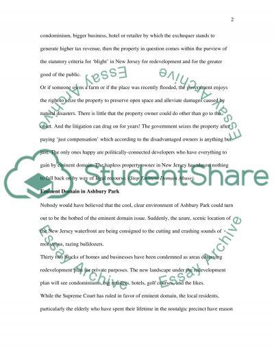 Eminent Domain essay example