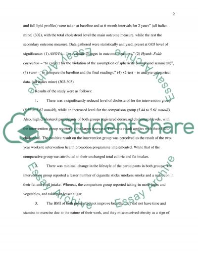 Evaluation of Health Promotion essay example