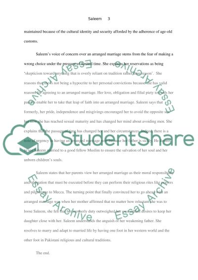 Arranged Marriage essay example