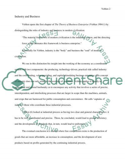 Thorstein Veblen Paper essay example