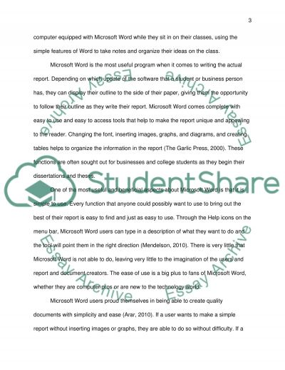 Microsoft Word Funtionality essay example