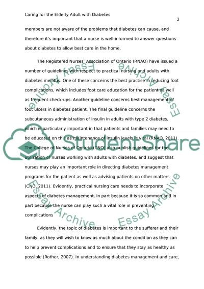Caring for the Elderly Adult with Diabetes essay example