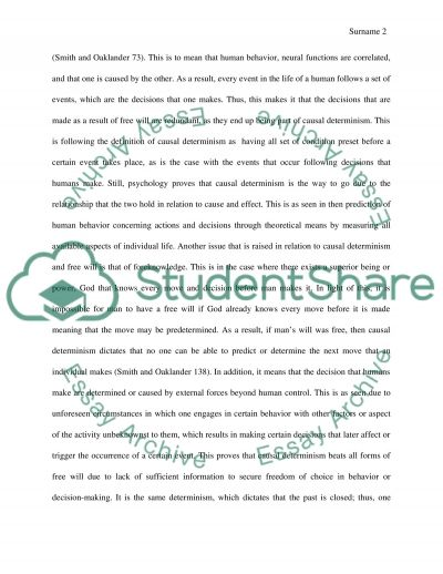 Free Will Essay example