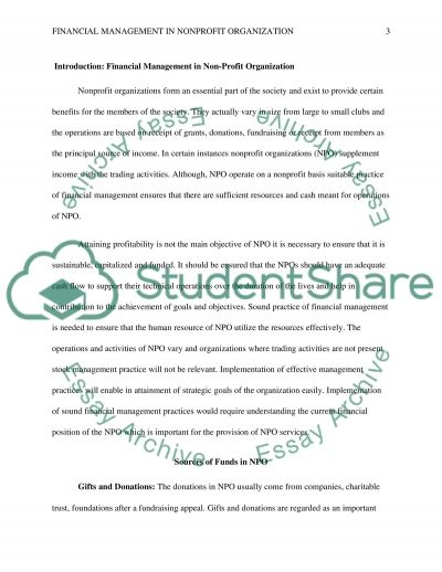 FINANICAL MANAGEMENT IN NONPROFIT ORGANIZATION essay example