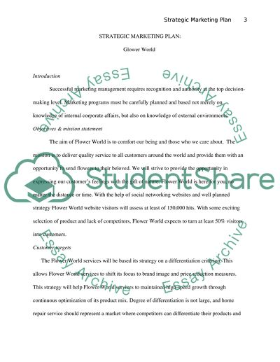 Strategic Marketing Plan Essay
