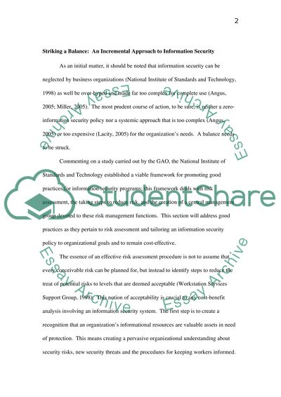 Information Security Essay Example | Topics and Well Written Essays