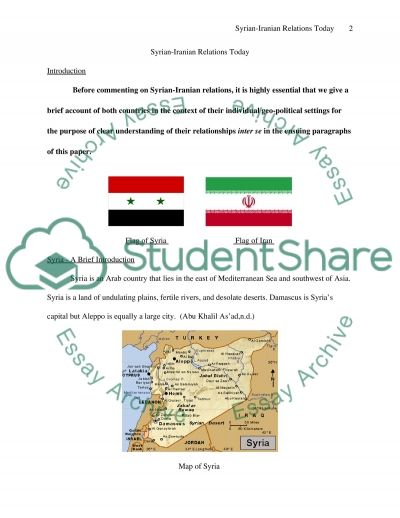 IranianSyrian Relations essay example