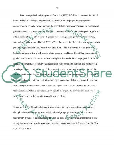 Managing diversity essay example