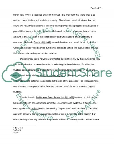 Equity and Trusts Law essay example