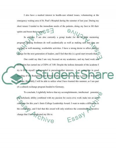 Statement for Applying Leadership Award essay example