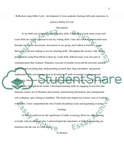 Reflection Using Gibbs Cycle - Development of Your Academic Learning Skills and Experience in Practice During 3rd Year essay example