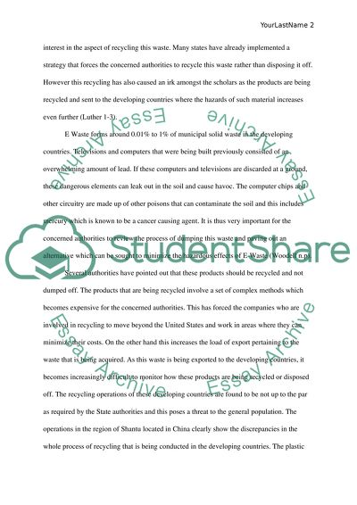 Ewaste Essay Example  Topics And Well Written Essays   Words Ewaste Essay On High School Dropouts also Essay Of Science  English Essay On Terrorism
