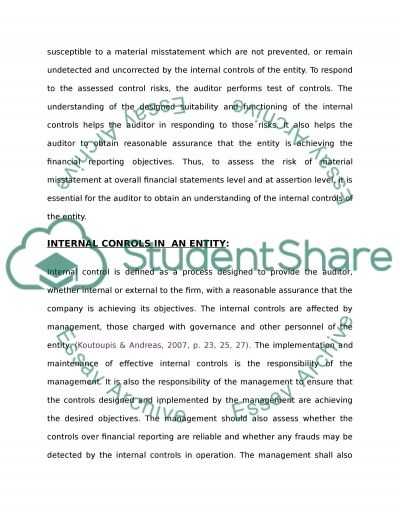 Love the importance of internal control in auditing essay example