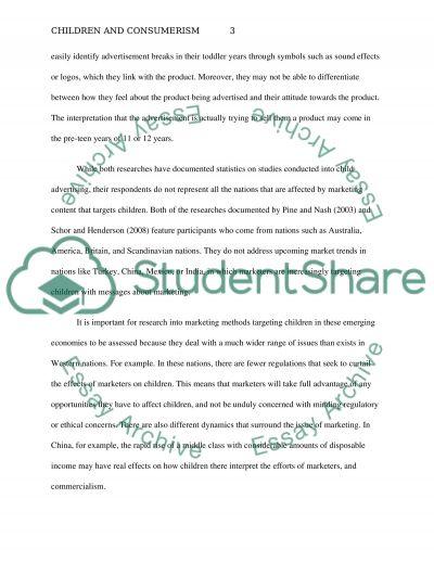 Children and consumerism essay example