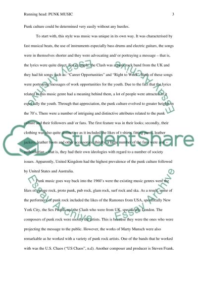 Punk music paper essay example