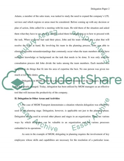 Delegation Paper essay example