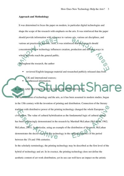 How does new technology help the Arts essay example