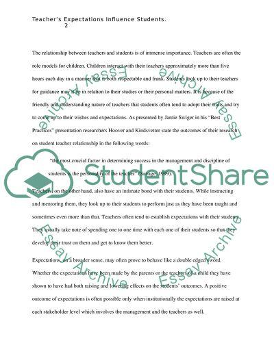 teachers expectations influence students essay example  topics and  teachers expectations influence students