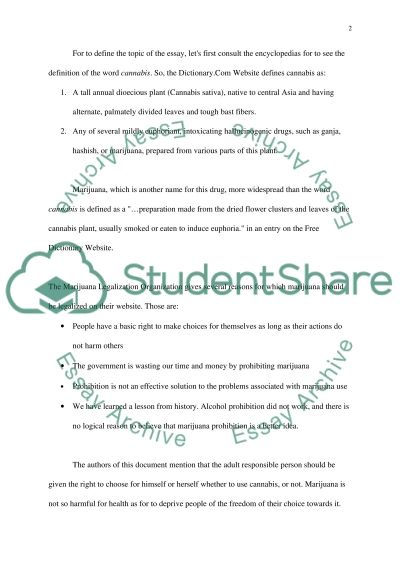 Legalization of Cannabis essay example