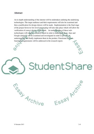Research report essay example
