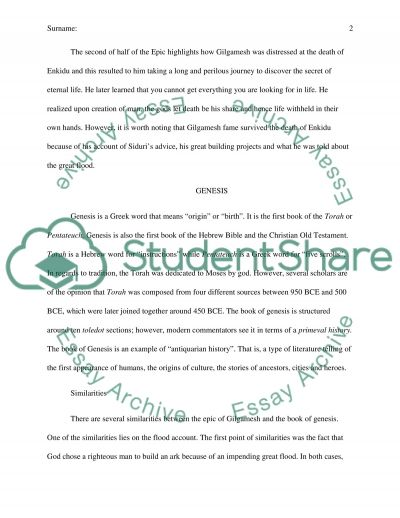Comparison Between the Epic of Gilgamesh and Genesis essay example