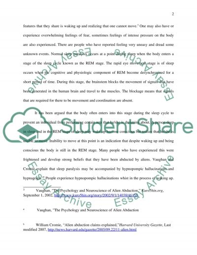 Using psychological disorders to explain alien abductions essay example