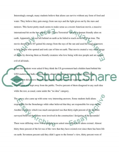 A Survey Of Student Attitudes To Alien Life essay example
