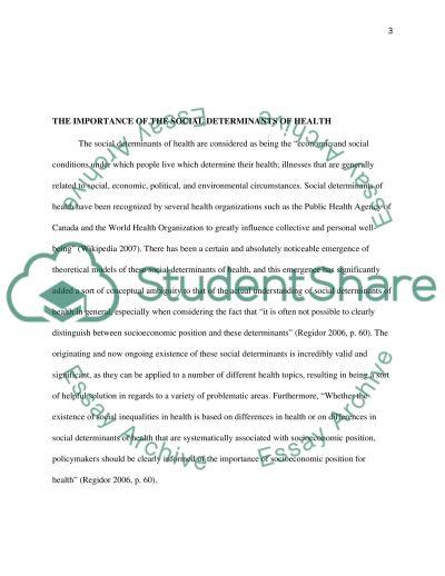 Social Determinants of Health essay example