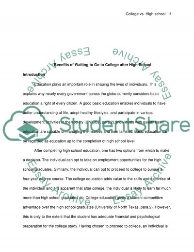 Benefits of Waiting to Go To College after High School essay example