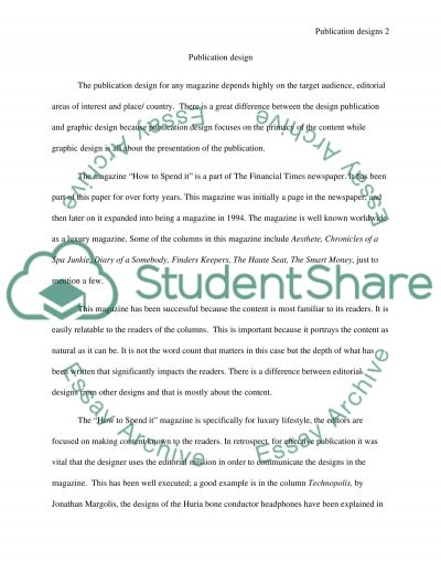 PUBLICATION DESIGN essay example
