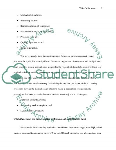High School Students Perception of Accounting essay example