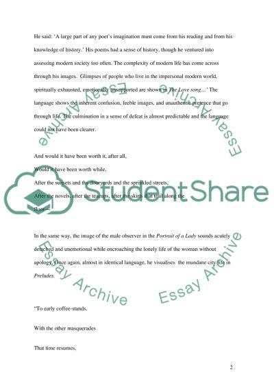 Eliots Poetry essay example