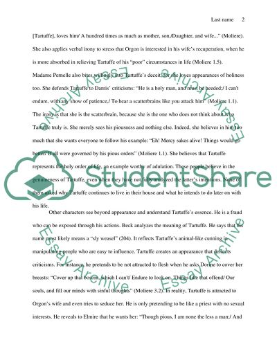 Tartuffe essay topics
