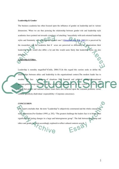 Leadership in Contemporary Organisations essay example