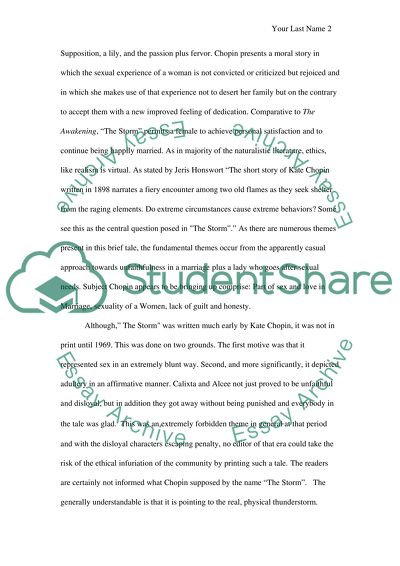 Mental Health Essay Themes Of The Storm By Kate Chopin High School Admission Essay Samples also Proposal Argument Essay Examples Themes Of The Storm By Kate Chopin Essay Example  Topics And Well  High School Application Essay Examples