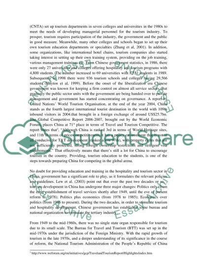 Tourism education and training in China essay example