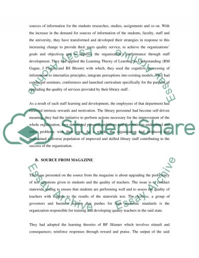 Staff Learning and Development in Organizations essay example