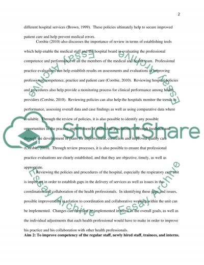 Proposal for Respiratory Care Services Department essay example