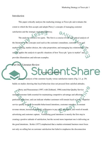 Marketing Strategy at Tesco plc essay example