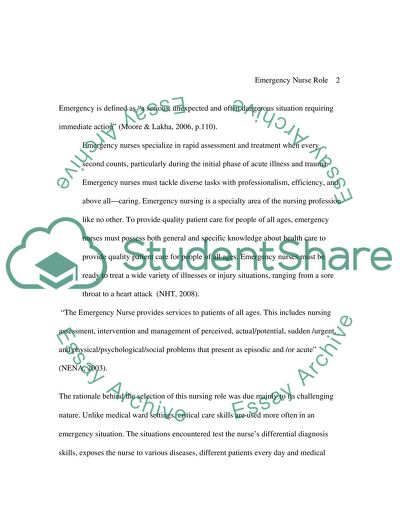 Emergency Nursing Essay Example  Topics And Well Written Essays  Emergency Nursing