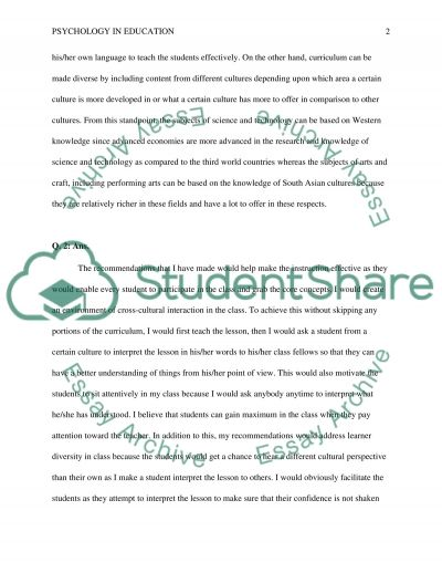 Redo Psychology in Education essay example