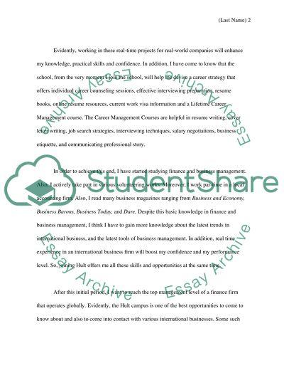 master of finance application essay