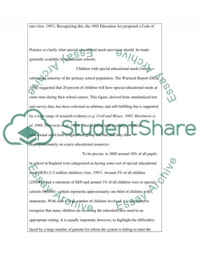 Special educational needs provision essay example