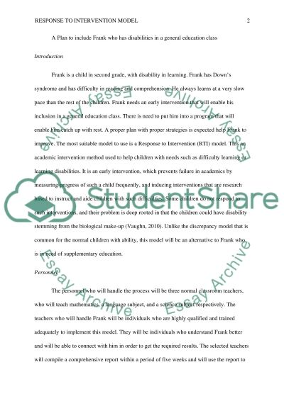 Real or imaginary child with disabilities into a general education class essay example