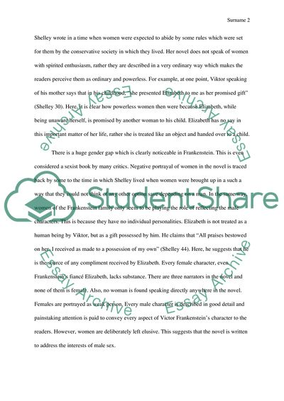 Small Essays In English Feminism Shown Throughout The Book Called Frankenstein By Mary Shelley Types Of English Essays also Argumentative Essay Topics For High School Feminism Shown Throughout The Book Called Frankenstein By Mary  Good High School Essays