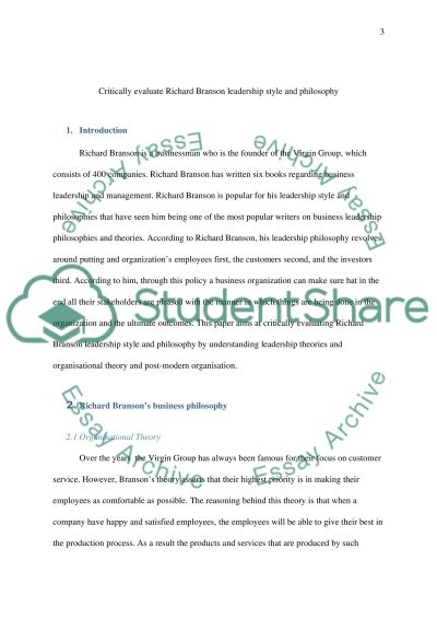 essays richard branson leadership style Using the internet or strayer university databases, research the leadership style and characteristics of richard branson, virgin group write a six to seven (6) page paper in which you: assess the key elements of richard branson's leadership style and the impact that those elements have had on his business success.