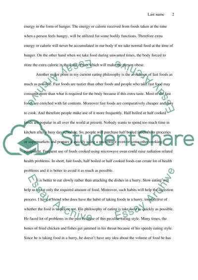 Composing a Philosophy of Eating Essay example