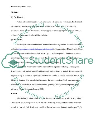 science project idea paper research example  topics and well  science project idea   research paper example